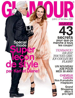 Glamour Paris March 2011 cover Karl Lagerfeld Diane Kruger