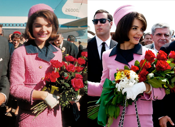 Jacqueline Kennedy  Katie Holmes pink chanel suit