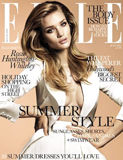 Rosie Huntington-Whiteley July cover of Elle