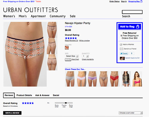 urban outfitters navajo hipster panty