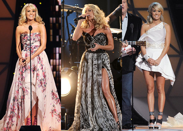carrie underwood country music awards outfits