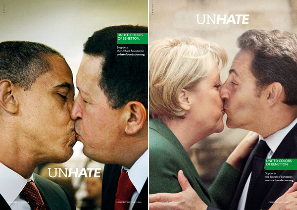 barack obama kissing hugo chavez united colors of benneton unhate ad
