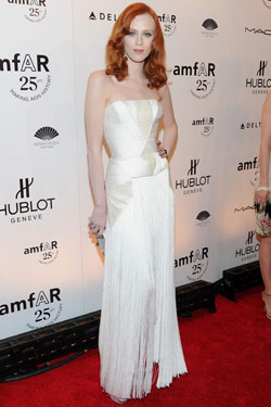 Karen Elson white Versace dress