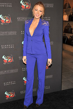 Blake Lively Elie Saab blue suit